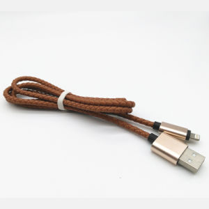 PU Leather Braid 1m USB Data Cable for iPhone5