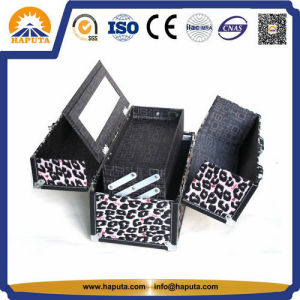 Beauty Fashionable Leopard Makeup Vanity Case with Mirror (HB-1007) pictures & photos