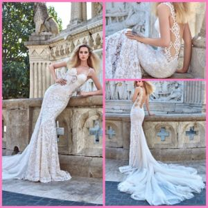 Double Straps Bridal Dress Ivory Lace Champagne Lining Mermaid Wedding Dress H16115 pictures & photos