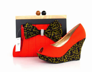 New Design African Wax Printed Fabrics High Heel Ladies Shoes with Bags (Y 63)