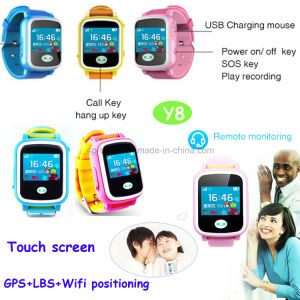 Hot Kids Smart GPS Tracker Watch with Colorful Touch-Screen Y8 pictures & photos