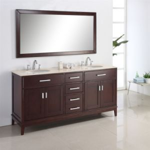 Single Sink Wooden Bathroom Vanity with Side Cabinet pictures & photos