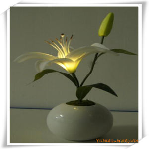 Small Lily LED Artificial Flowers with Ceramics Pot for Promotion pictures & photos