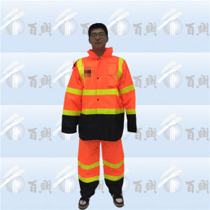 Fluorescence Orange American Rain Suit with Reflective Tape pictures & photos