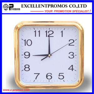 Gold Frame Logo Printing Square Plastic Wall Clock (Item27) pictures & photos
