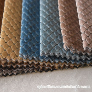 Diamond Pattern Polyester Terry Velour Sofa Fabric pictures & photos