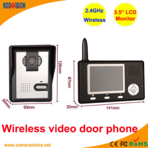 3.5 Inch LCD 2.4GHz Wireless Video Door Phone pictures & photos