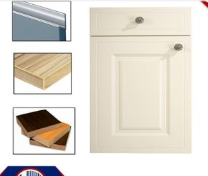PVC MDF Kitchen Cabinet Doors   with Handle and Edge Banding (zhuv) pictures & photos