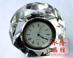 Crystal Glass Clock of Paperweight Table Decoration pictures & photos