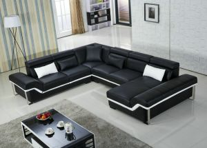 European Design Big Size with Steel Leg U Shape Leather Sofa pictures & photos