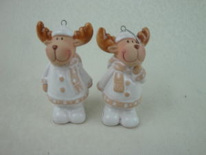 White Ceramic Hanging Christmas Reindeer Decoration pictures & photos