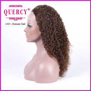 Brown Color Curly Top Quality 130% Density Brazilian Human Remy Front Lace Wig with Baby Hair pictures & photos