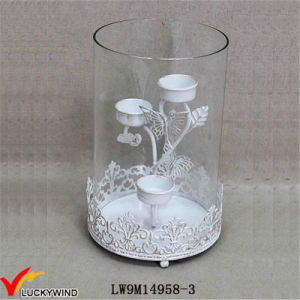 Hurricane Glass Metal Distressed White Wedding Candle Holder pictures & photos