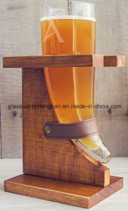 Unique Beer Glass Design with Wooden Support (B-PJB016) pictures & photos