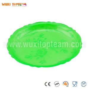 Plastic Floral Round Catering Tray (Green)