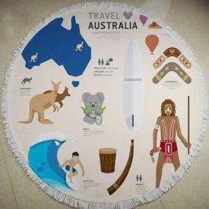 Microfiber Printed Australia Theme Round Beach Towel