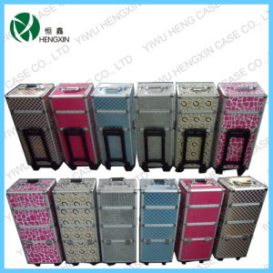 Lovely Makeup Trolley Aluminum Rolling Makeup Train Case pictures & photos