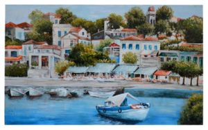 Country Scenery Houses by The River, City Beside The Sea Oil Paintings (LH-064000) pictures & photos