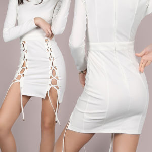Fashion Women Sexy Slim Side Split Bandage Bodycon Dress pictures & photos