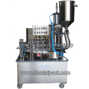 Yoghurt Plastic Cup Filling and Sealing Machine pictures & photos