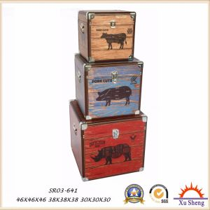 The Farm Animals Pattern Print Wooden Storage Trunk Jewelry Box Gift Box for Decoration pictures & photos