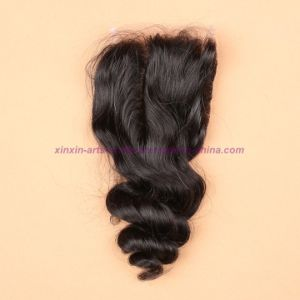 3/4 Bundles Brazilian Virgin Hair Weft Loose Wave with Silk Base Closure Wavy Hair Extensions with Silk Base Closure pictures & photos