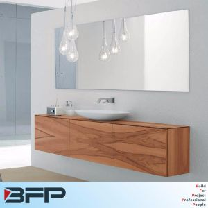 Faced Woodgrain Flat Panel Bathroom Mirror Cabinet with Light pictures & photos