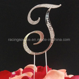 Partial Diamantee French Font Letter Wedding Cake Topper for Wedding Decoration pictures & photos