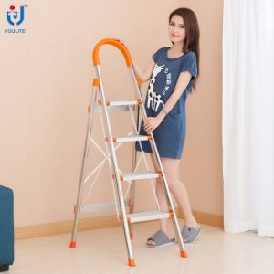 4 Step En131 Approved Multi-Purpose Household Folding Stainless Steel Ladder pictures & photos