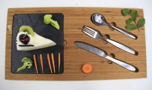 Slate Tableware with Wooden Serving Board