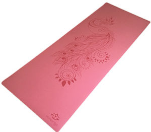 Professional Antislip Wet and Dry Sticky Purple PU Polyurethane Yoga Mat with Laser Engraving Alignment Guide pictures & photos
