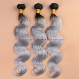 8A Grade Mongolian Grey Hair Weave Top Quality Body Wave Soft Ombre Human Hair Extensions