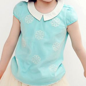 Embroidery Cotton Short Sleeve T-Shirt for Sweat Girls pictures & photos