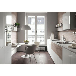 Modern Stylish Matt White Lacquer and Wooden Grain Kitchen Cabinet pictures & photos