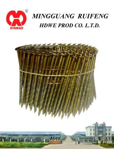 "Round Head, Flat Type, 2-1/2"" X. 113"", Screw Shank, Bright, 15 Degree Wire Collated Framming Nails, Coil Nails pictures & photos"