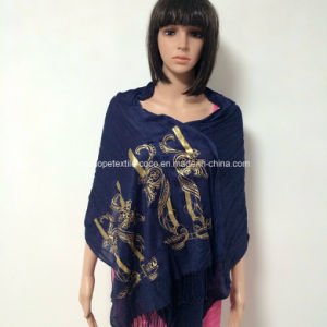 100% Polyester, Viscose Material Multifunctional Scarf with Golden Printing pictures & photos
