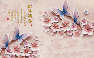Imitative Relief Sculpture The Butterflies and Flowers UV Printed on Ceramic Tile Model No.: CZ-002 pictures & photos
