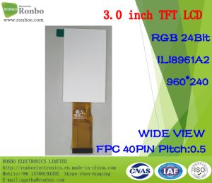 3.0 Inch 960*240 RGB TFT LCD Screen, Ili8961A2, 40pin with Option Touch Screen pictures & photos