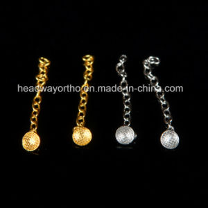Orthodontic Good Quality Accessory Round Base Eyelet with Traction Chain Golden pictures & photos