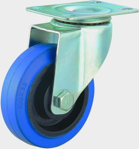 3/4/5 Inch Blue Elastic Rubber Swivel Caster Medium Duty Noiseless Trolley Castor Wheel pictures & photos
