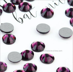 Round Glass Beads Flat Back Non Hot Fix Rhinestone for Decorate (FB-ss10 amethyst/3A grade) pictures & photos
