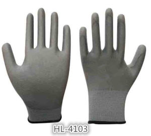13G Polyester Nylon PU Coated Glove pictures & photos