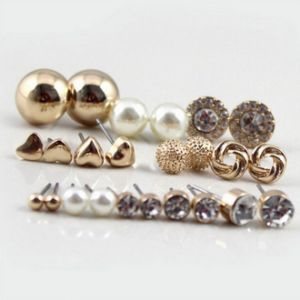 Costume Imitation Jewelry - Trendy Style Round Pearl Crystal Heart Stud Earrings Piercing for Women Bijoux Jewelry Brincos pictures & photos