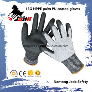 13G Black PU Coated Safety Work Glove Level Grade 3 and 5 pictures & photos