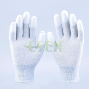 13 Gauge Seamless Knitted PU Finger Coated Carbon Fiber Antistatic Glove pictures & photos