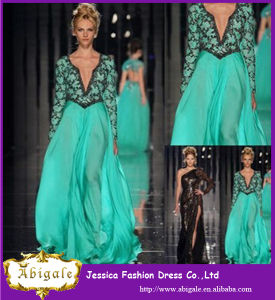 2014 Turquoise Sexy Long Applique Party Dress/ Evening Dress with Long Sleeves