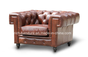 Latest Design Leather Chesterfield Sofa with Square Arms (RF-5003) pictures & photos
