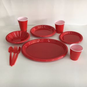 Disposable Plastic Solid Colored Party Dinnerware pictures & photos