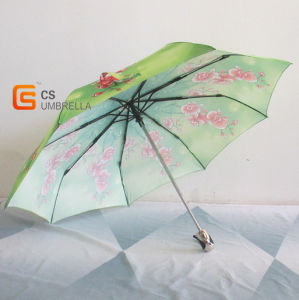 21X8k Full Automatic Umbrella Red Flower and Green Cover (YSN07)