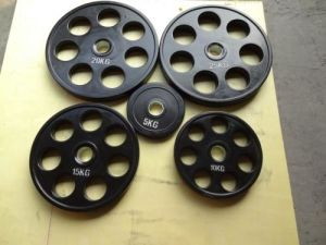 Seven Holes Rubber Coated Weight Plate pictures & photos